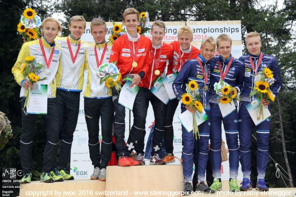Viestimitalistit. Anton Suomen joukkueesta keskimmäisenä. (copyright by jwoc2016 + www.steineggerpix.com / photo by remy steinegger)
